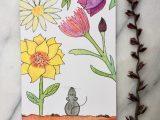 Muis in het bloemenveld – ansichtkaart